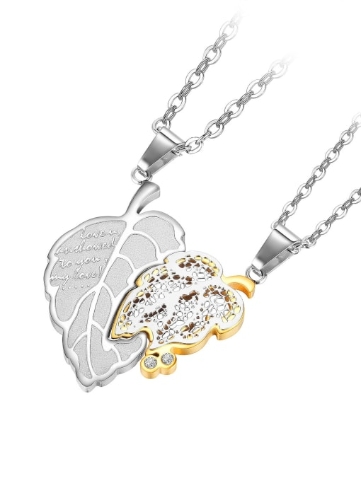 1934 [gold single pendant] Titanium Steel Cubic Zirconia Tree Leaf Hop Necklace